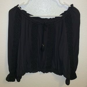 Black, cropped, scoop top with lace, 3/4 sleeves